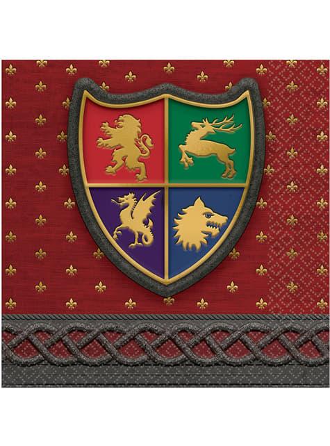 16 Serviettes en papier boucliers médiévaux - Medieval Collection
