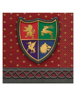 16 servetter med medeltida sköldar (33x33 cm) - Medieval Collection