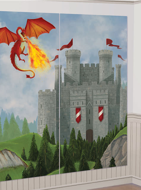 13 acessórios para photocall com fundo de castelo e dragão medieval
