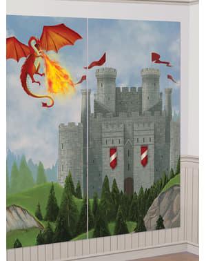 Set 13 aksesoris photobooth dengan kastil abad pertengahan dan latar belakang naga