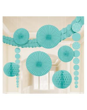 9 decoraciones de papel colgantes aguamarina