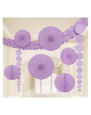 9 decorações de papel em cor lilás