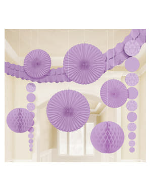9 lila papieren decoraties