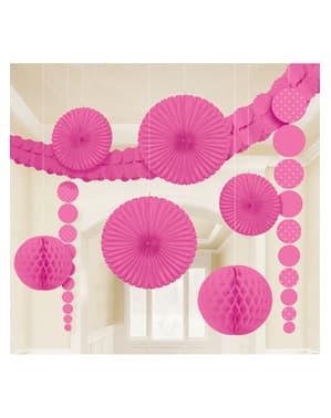 9 decoraciones de papel colgantes rosa intenso