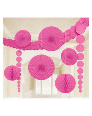 9 decorações de papel em cor-de-rosa intenso