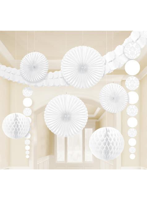 9 decoraciones de papel colgantes blancas