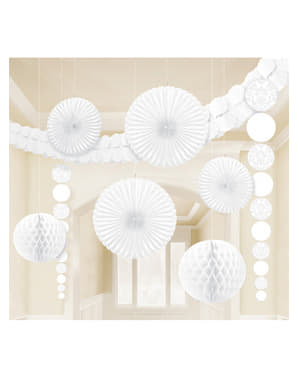 9 décorations en papier couleur blanc