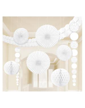 9 decorações de papel em cor branca