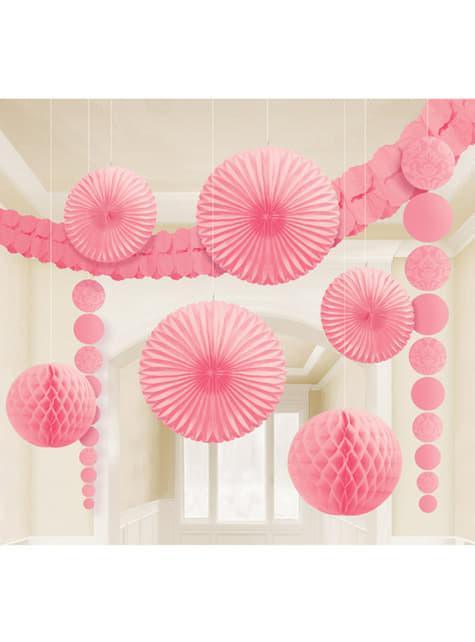 9 decoraciones de papel colgantes rosa pastel