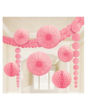 Комплект от 9 пастелни розови хартиени декорации