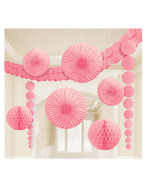 9 pastel pink paper decorations