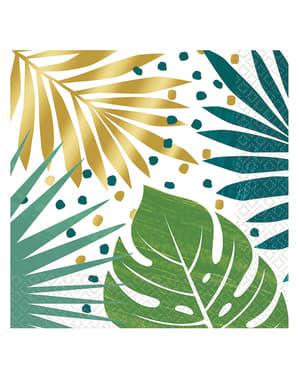 16 Serviettes en papier motifs feuilles tropicales verts et dorés Key West