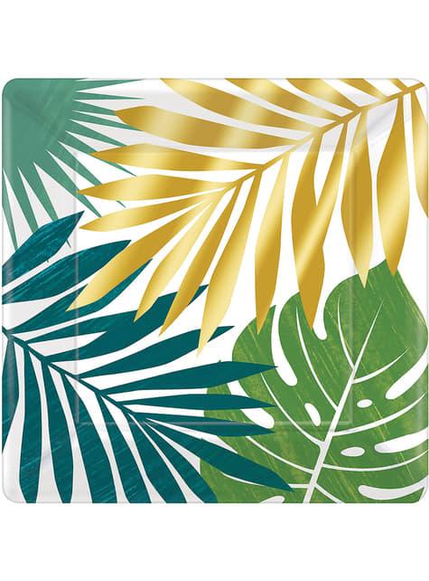 8 platos con hojas tropicales (26cm) - Tropical Gold