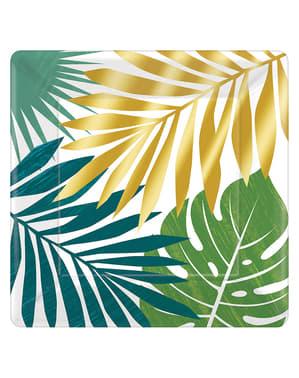 8 assiettes feuilles tropicales - Key West