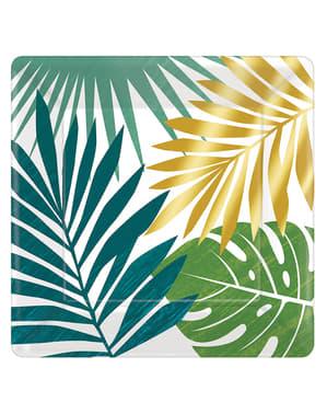 8 platos de postre con hojas tropicales (18cm) - Tropical Gold