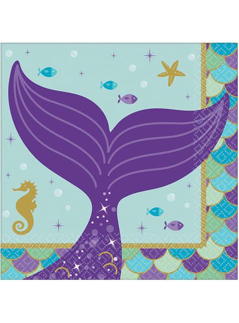 16 Serviettes en papier apéritifs queue de sirène - Mermaid Wishes