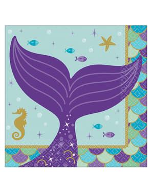 Sett med 16 forrett servietter med havfrue haler - Mermaid Wishes