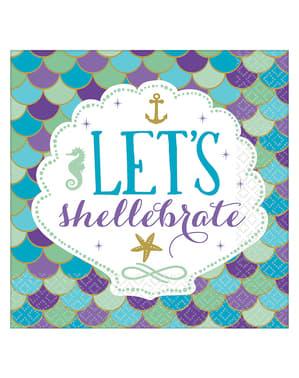 Sett med 16 Let's celebrate servietter - Mermaid Wishes