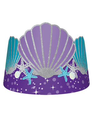 Pappkronen mit Muschel Set 8-teilig - Mermaid Wishes
