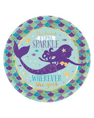 8 desserttallerkner med havfru (18 cm) - Mermaid Wishes