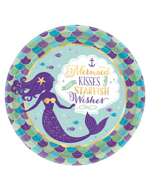 Sett med 8 tallerkener med havfrue - Mermaid Wishes