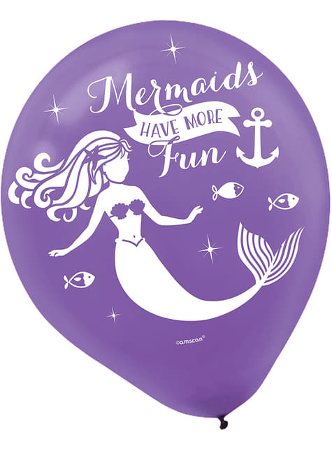 6 palloncini in latex con siren (27 cm) - Mermaid Wishes