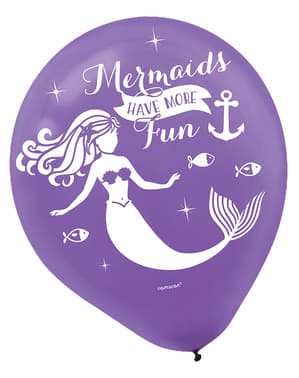 6 latex balloons with mermai (27 cm) - Mermaid Wishes