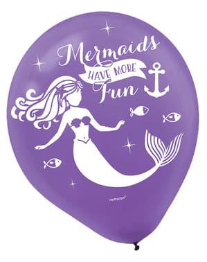 Sett med 6 latex ballonger med havfrue - Mermaid Wishes