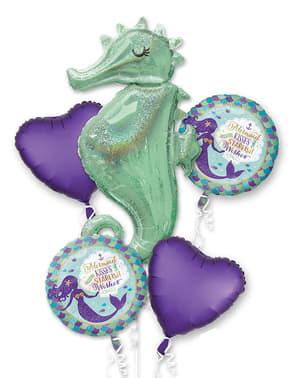 Kukkakimppu folioilmapalloista merihevosella – Mermaid Wishes