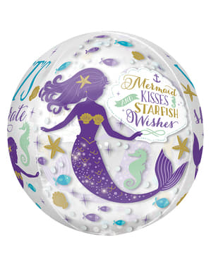 Balão esférico de foil com sereia - Mermaid Wishes