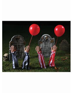 Figurine décorative de bras de clown rouge d'outre-tombe