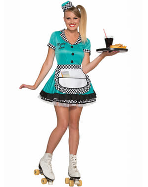 Blauw jaren 50 serveerster kostuum voor vrouw