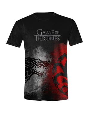 गेम ऑफ थ्रोन्स वुल्फ बनाम ड्रैगन टी-शर्ट पुरुषों के लिए