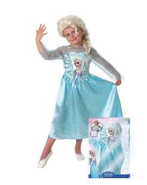 Kostum Frozen Elsa dengan wig untuk seorang gadis
