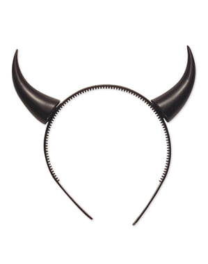 Diadème à cornes de diable à paillettes noires
