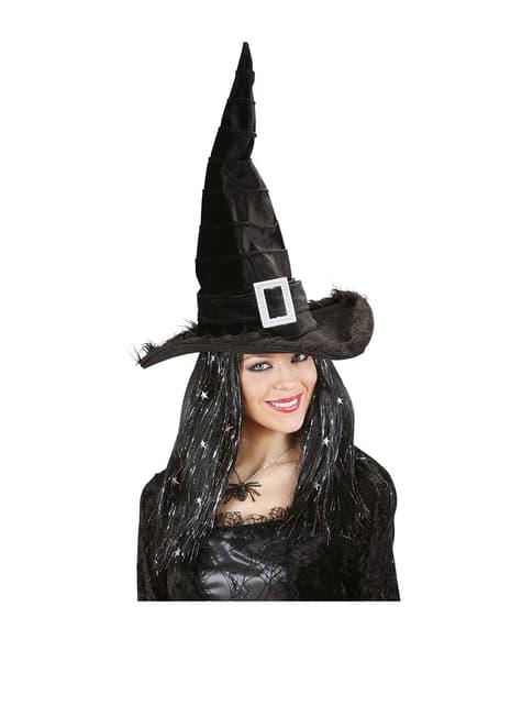 Sombrero negro de bruja elegante