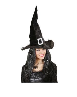 Chapéu preto de bruxa elegante