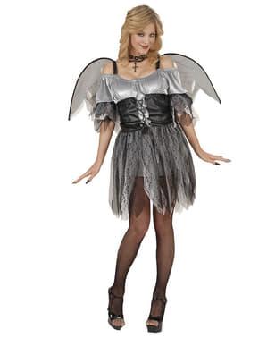 Disfraz de ángel caído plateado para mujer