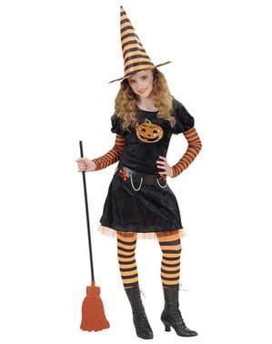 Costum de vrăjitoare dovleac pentru fată