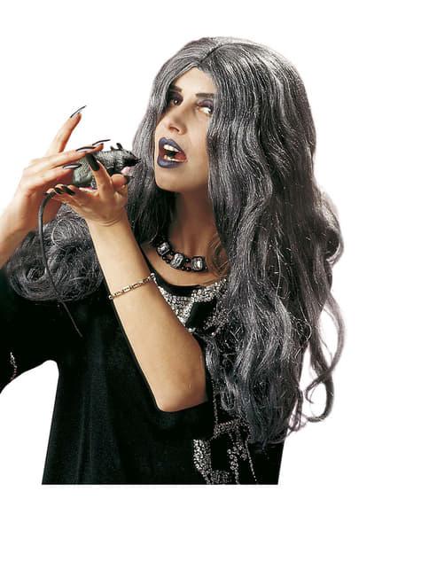Peluca larga canosa de bruja para mujer