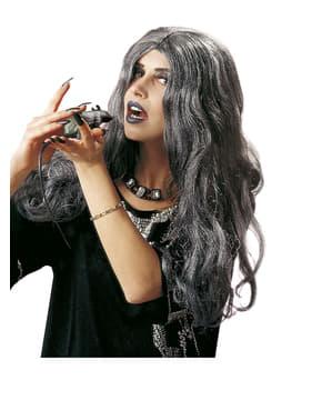 Lange grijze pruik heks voor vrouw