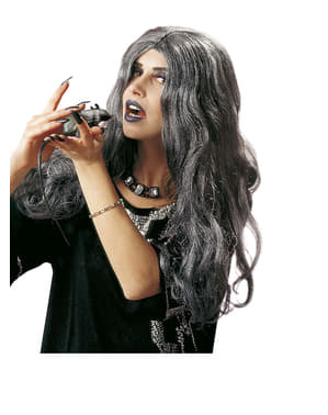 Perruque longue grise sorcière femme