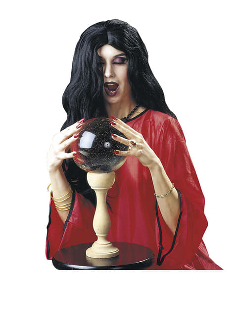 Peluca larga negra de bruja para mujer