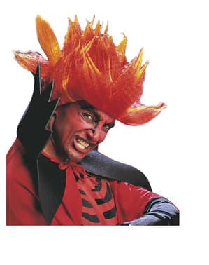 Peruca de diabo fogo infernal para adulto