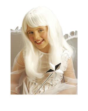 Hvid paryk med pandehår til piger