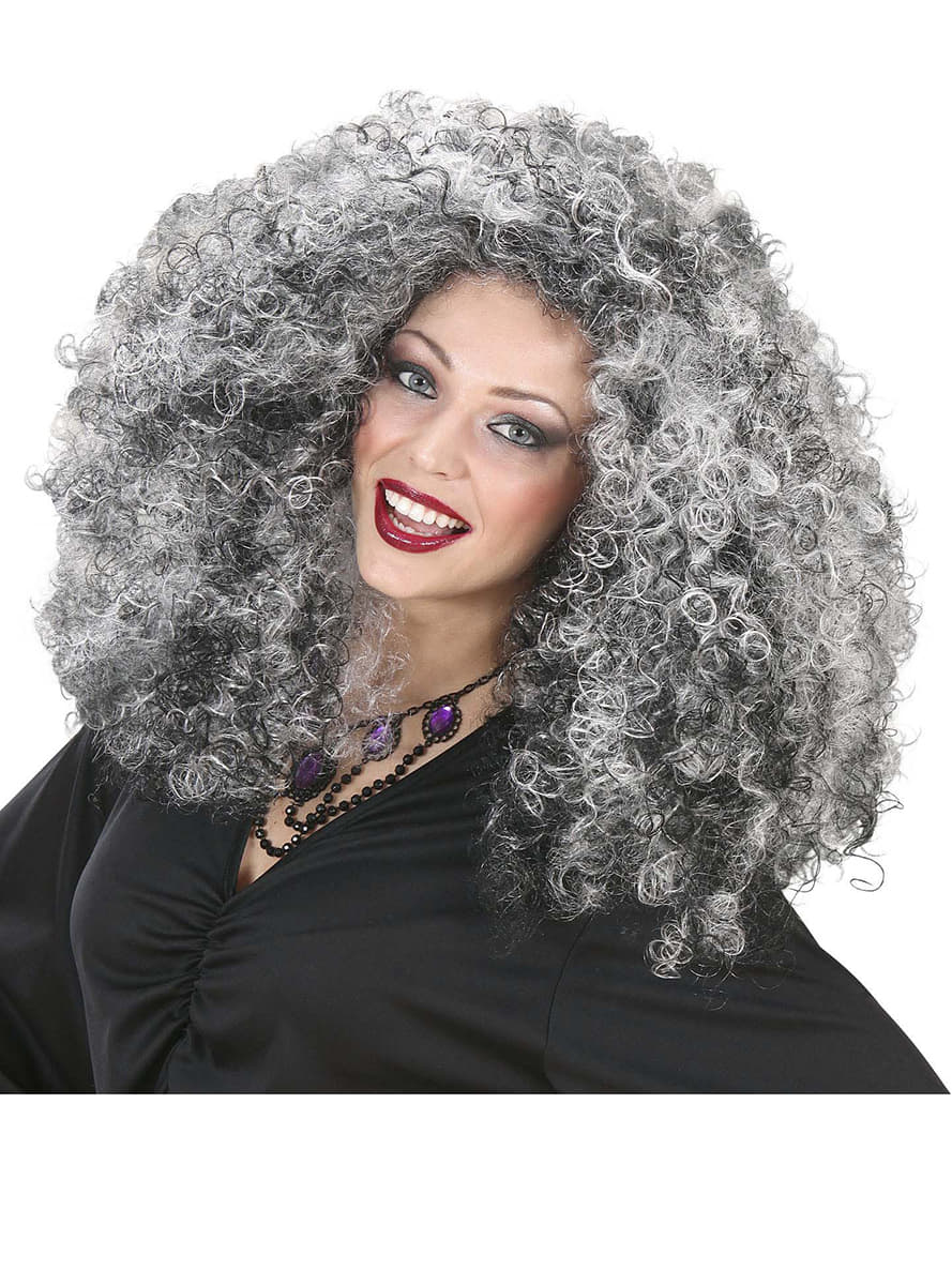 Womens Extra Volume Grey Haired Witch Wig Express