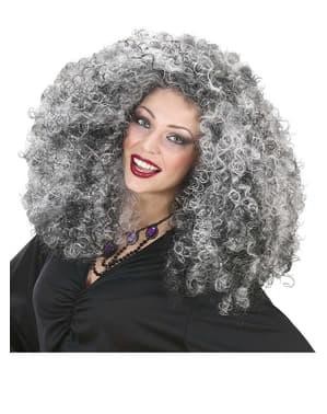 Peruca de bruxa grisalha extra volume para mulher