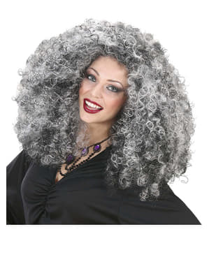 Womens Extra Volume Grey-haired Witch Wig
