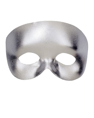 Glatt Sølv Masquerade Maske