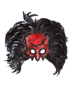 Máscara de diablo con lentejuelas y plumas